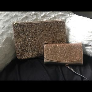Rose gold glitter clutch and matching bag.
